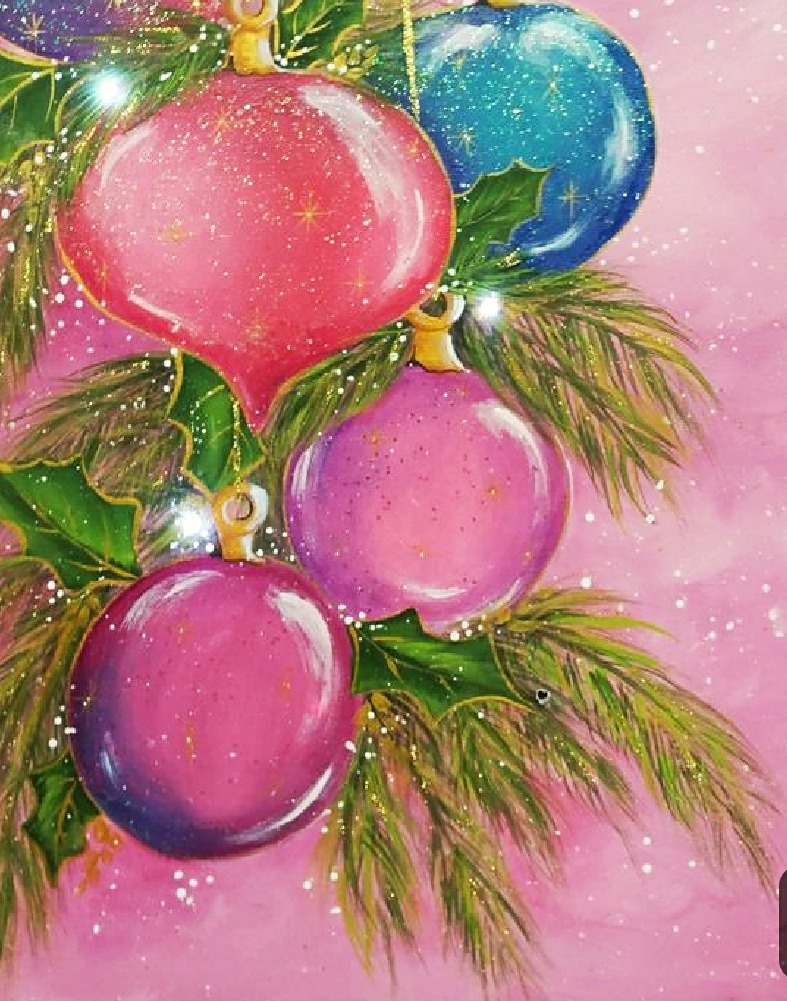Christmas Ornaments on Tree, Pink