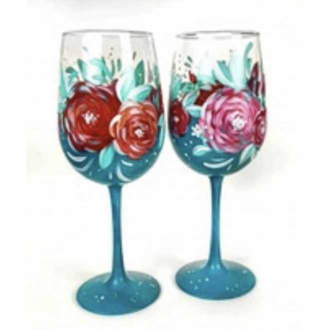 Wine Glass Paint Class! Set of Rose's